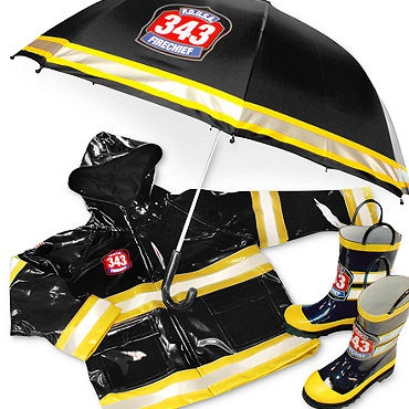 Toddler Fireman Rain Coats Boots and Umbrellas