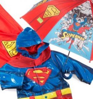 Toddlers Superman Raincoat Boots and Umbrella
