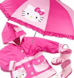 Hello Kitty Raincoat Boots Umbrella