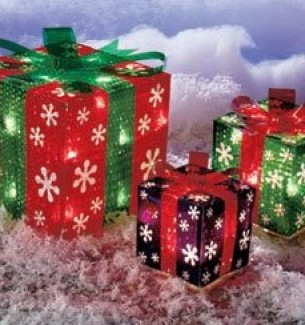 Outdoor Lighted Gift Boxes