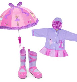 Toddler Ballerina Raincoat Boots and Umbrella