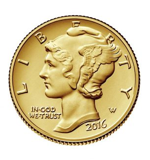 2016-W 1/10 oz Gold Mercury Dime Coin