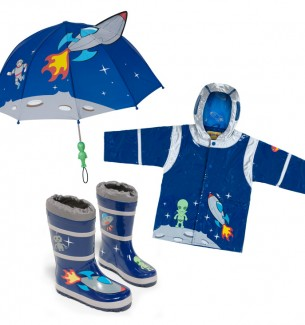 Toddler Boy Space Hero Raincoat, Boots, and Umbrella