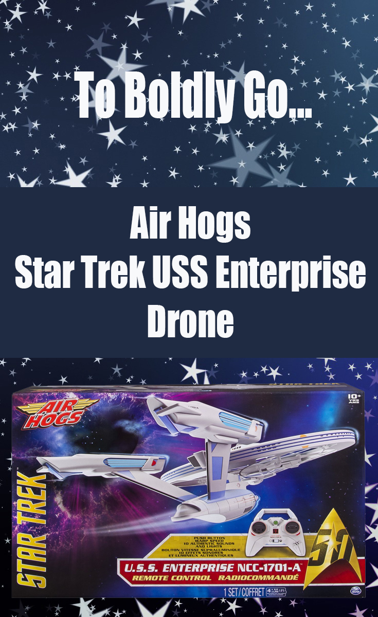 The Air Hogs Star Trek U.S.S. Enterprise Drone is set to coincide with the release of the Star Trek Beyond movie and the 50th Anniversary of the original TV Series. It is the first Star Trek remote control vehicle that actually flies.Q