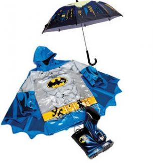Boys Batman Raincoat Boots and Umbrellas