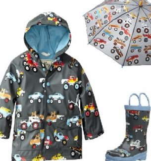 Monster Truck Rain Coat Boots Umbrella