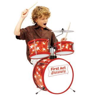 Toddlers First Rock Band Drums, Guitars, and Microphones